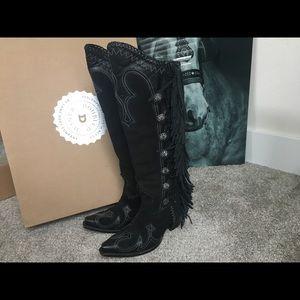 Double D Ranch Black Fringe Boots